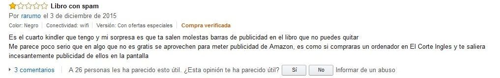 Comentario Amazon Kindle